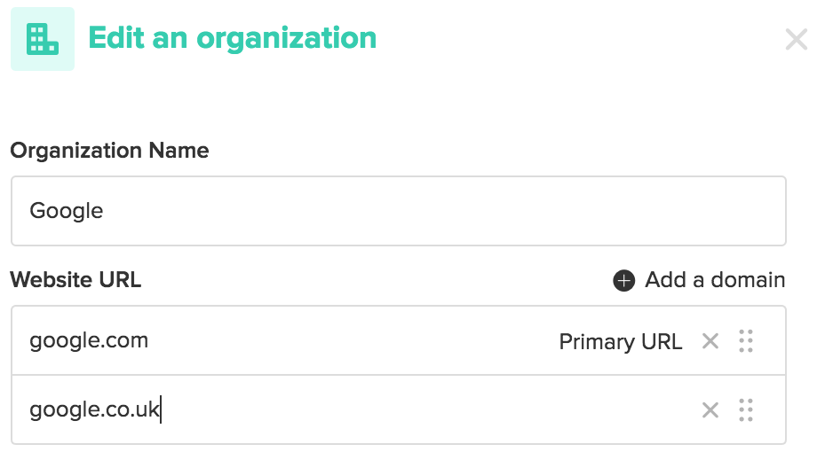 Multiple domains on organizations